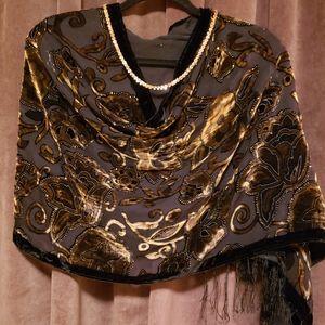 Black & Chocolate Silk Velvet Burnout Shawl/Wrap